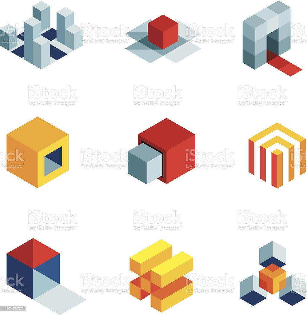3D world startup idea creative virtual company element logo icons vector art illustration