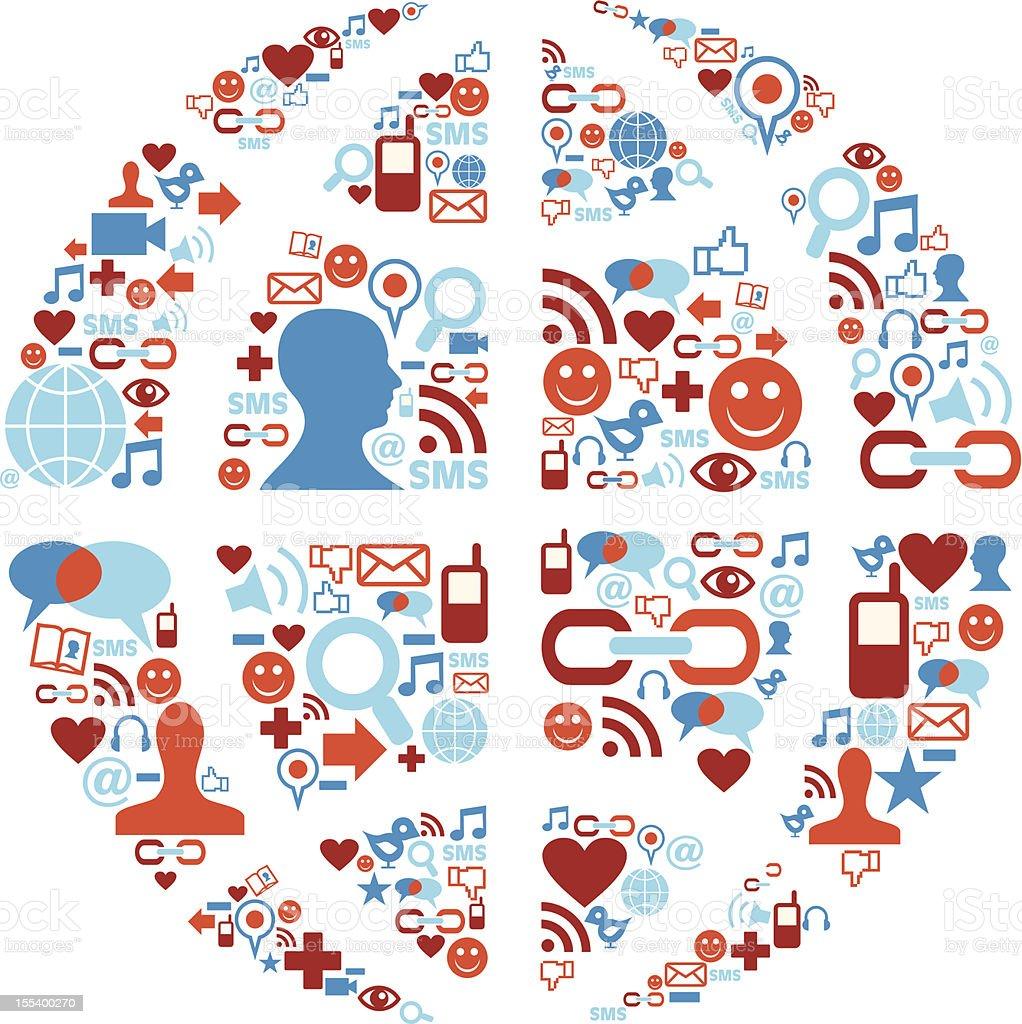 World symbol in social media network icons royalty-free stock vector art