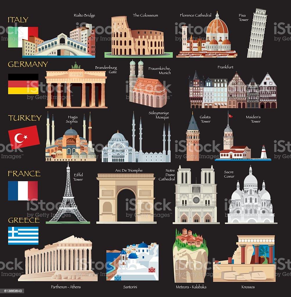 World Symbols vector art illustration
