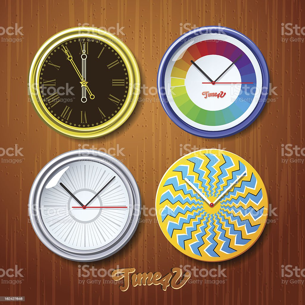 World time, watches on wooden wall royalty-free stock vector art