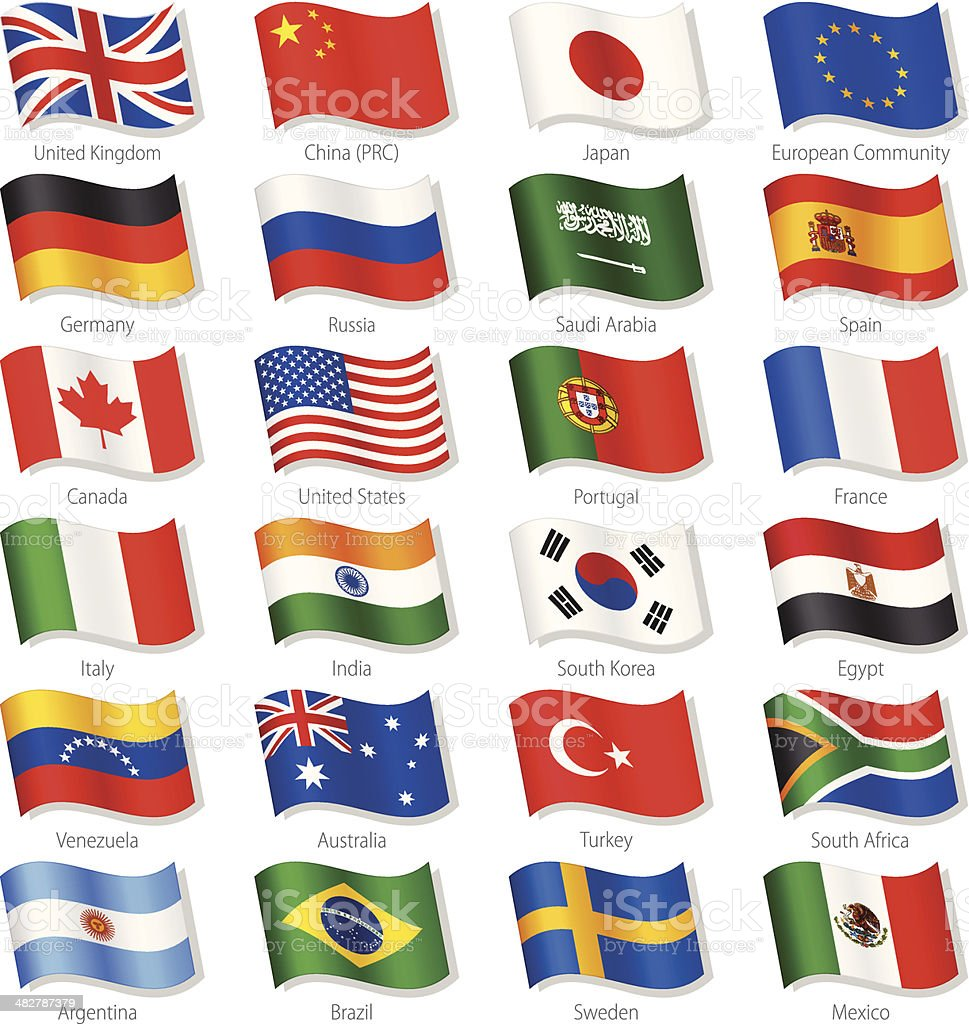 World Top Countries Vector National Flags vector art illustration