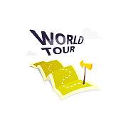 World tour concept logo isolated on white background