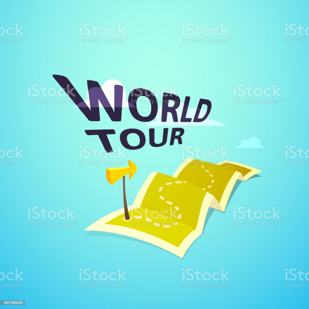 World Tour Concept Travel Map With Guide Marker stock vector art – Travel Marker Map