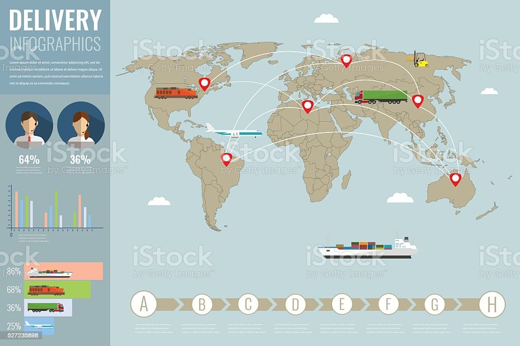 World transportation and logistics. Delivery and shipping infographic elements. Vector royalty-free stock vector art