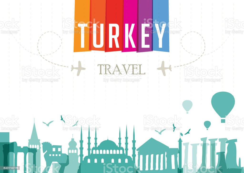 World Travel and Famous Locations - Turkey vector art illustration