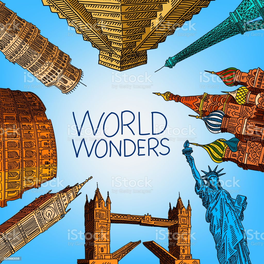 World Travel Concept Drawing vector art illustration