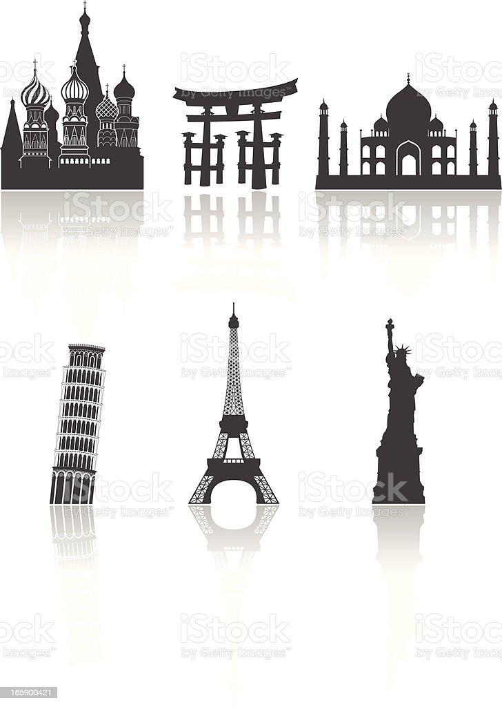 World travel landmarks vector art illustration
