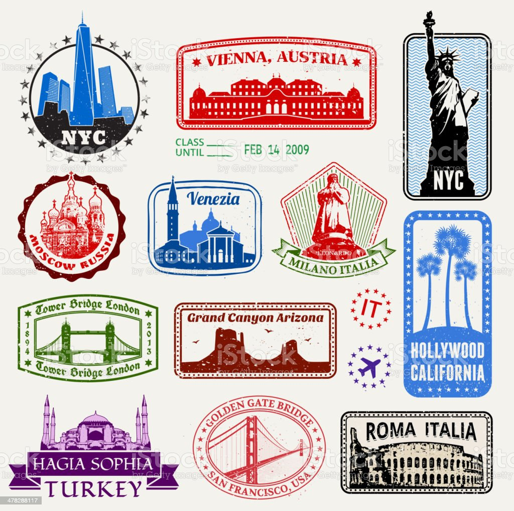 World Travel Passport stamps royalty free vector graphic vector art illustration
