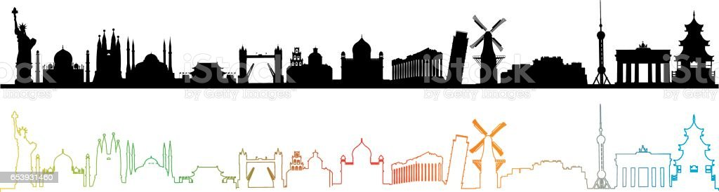 World Travel Skyline vector art illustration