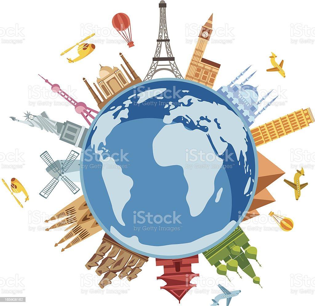 World Travel Symbols vector art illustration