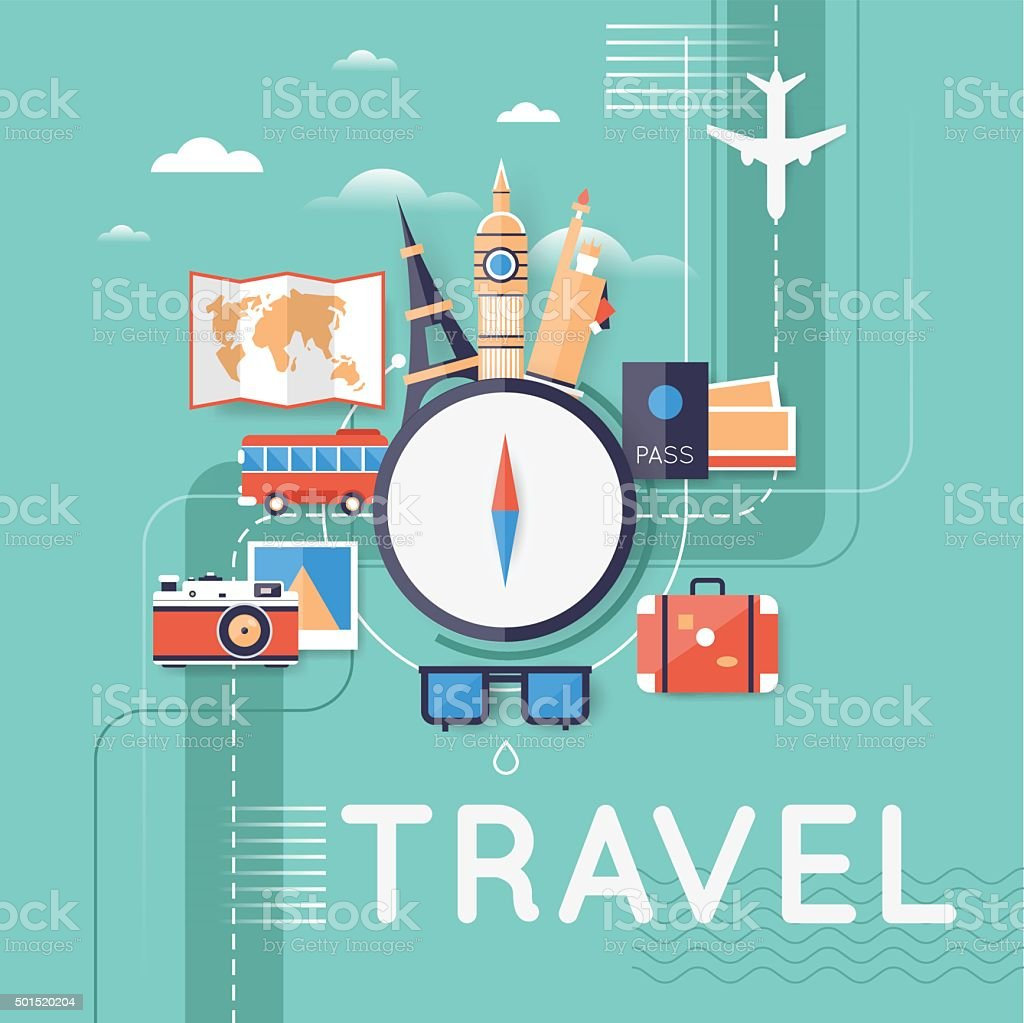 World Travel. vector art illustration