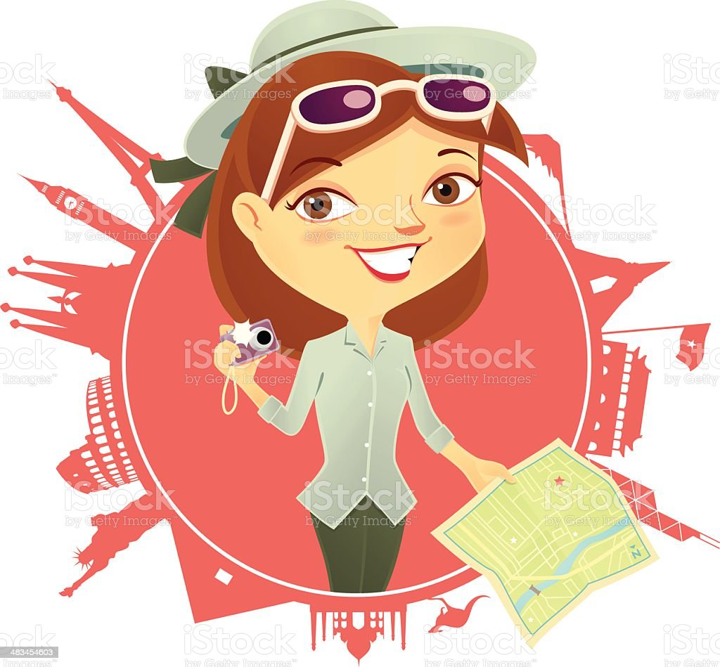 World Traveller Girl royalty-free stock vector art
