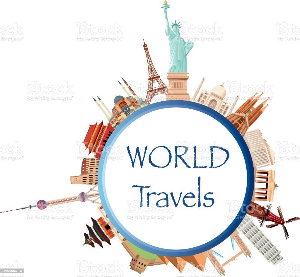 World Travels vector art illustration