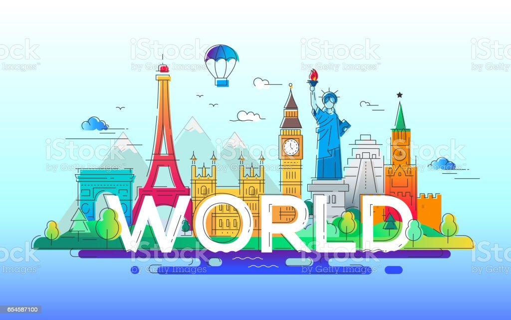 World - vector line travel illustration vector art illustration