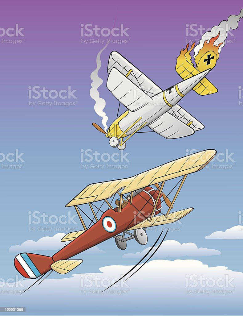 World War I planes vector art illustration