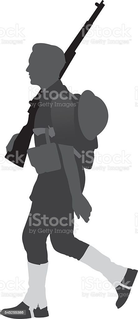 World War I Soldier Silhouette vector art illustration