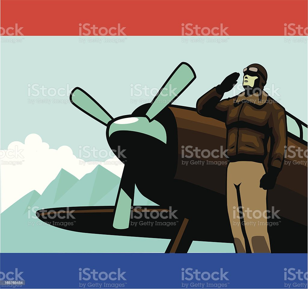 World War Pilot vector art illustration