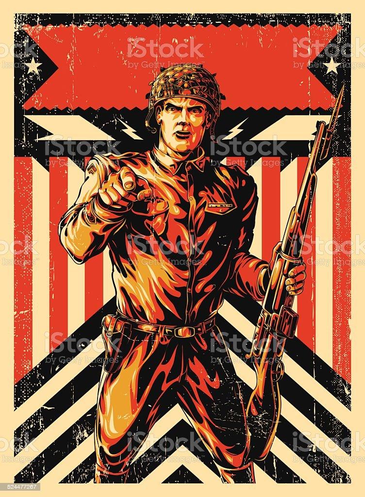 World War Soldier poster vector art illustration