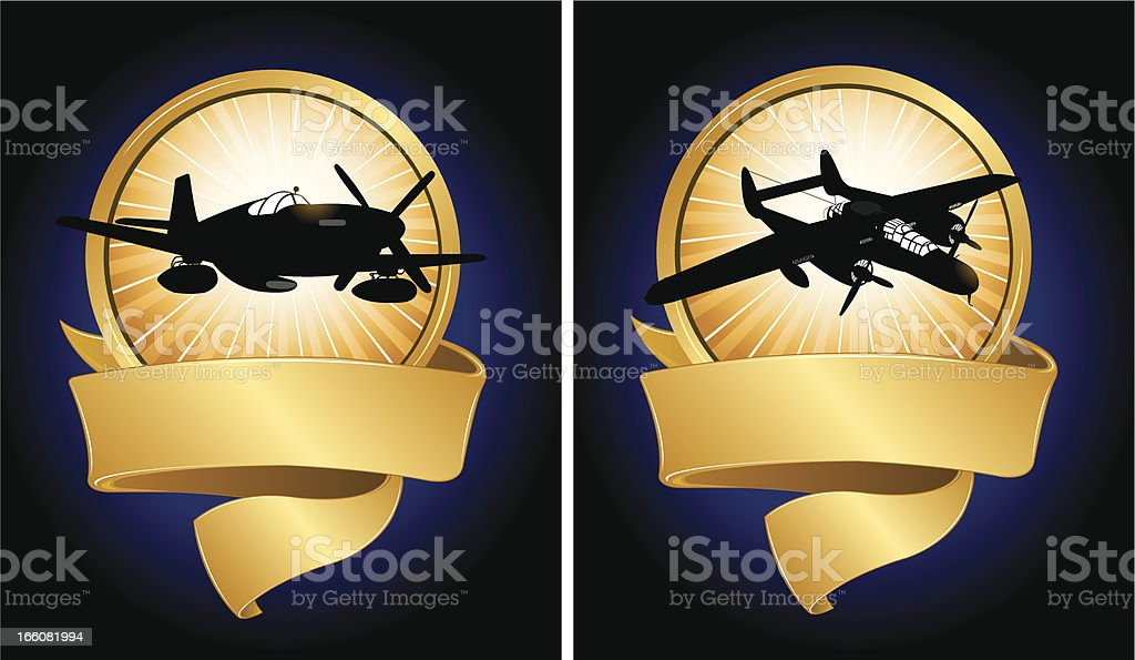 World War Two Air Force Banner Metals vector art illustration