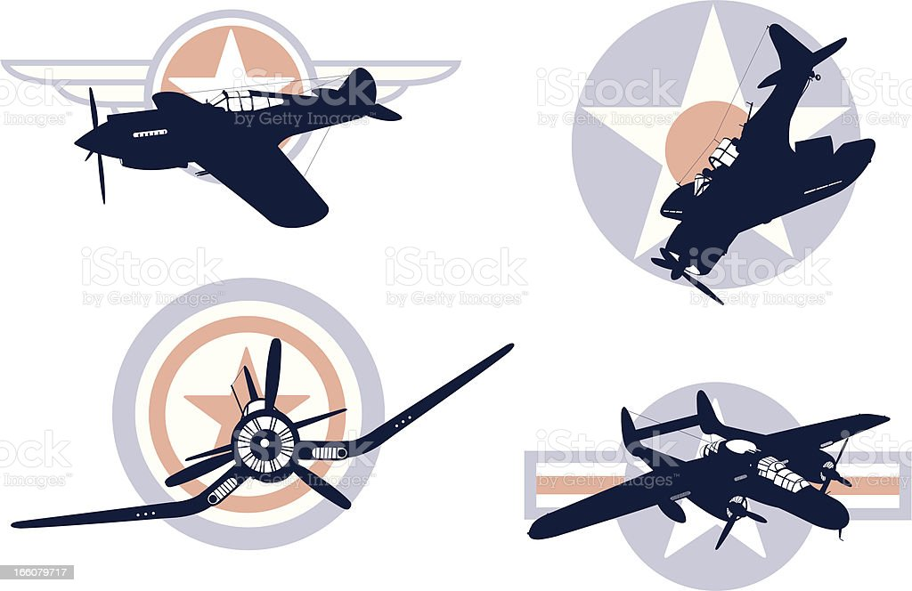World War Two Air Force Icons royalty-free stock vector art