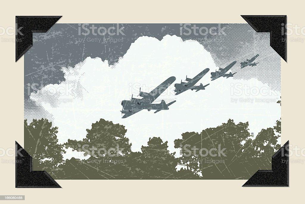 World War Two - Air Raid Background vector art illustration