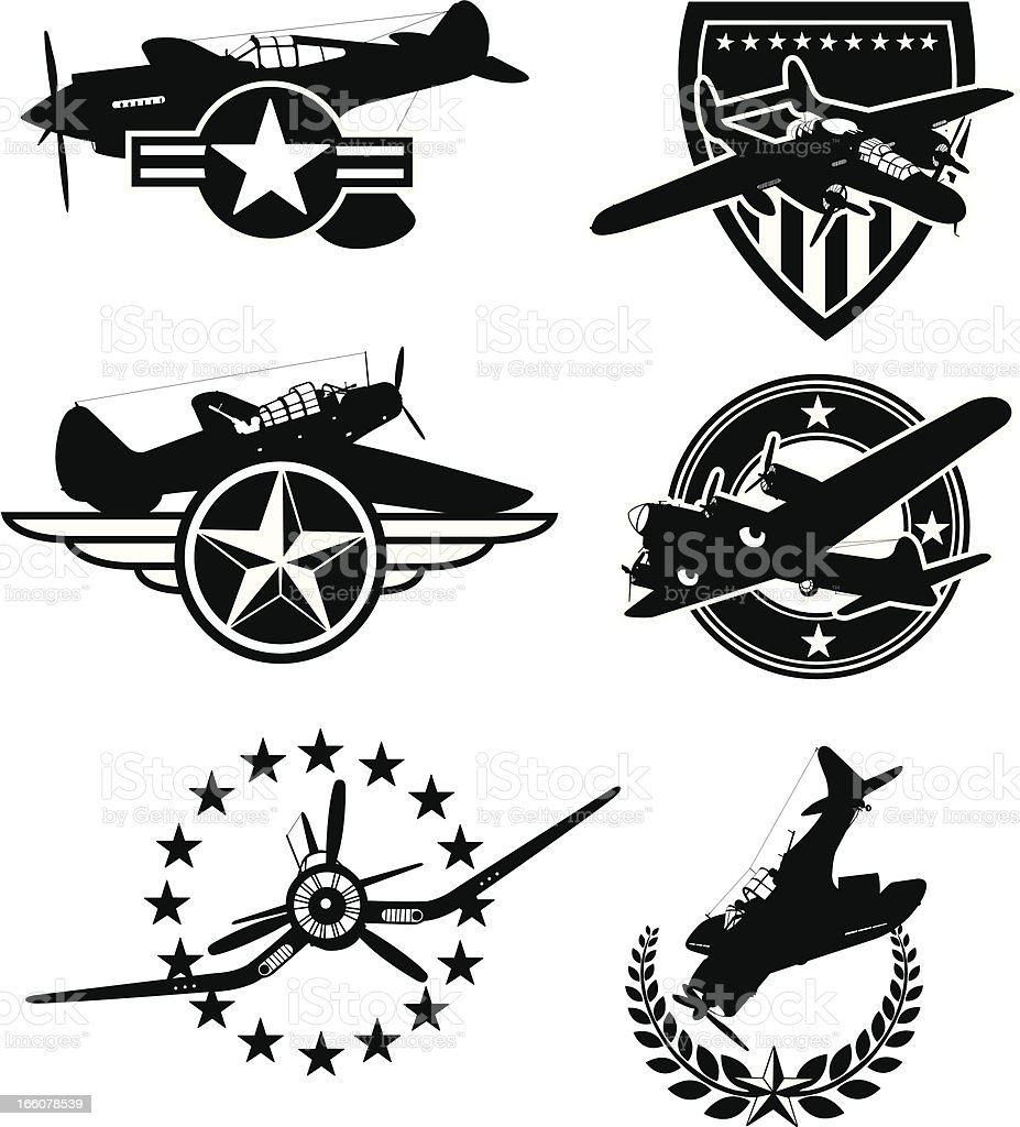 World War Two Airplane Icons - Armed Forces vector art illustration