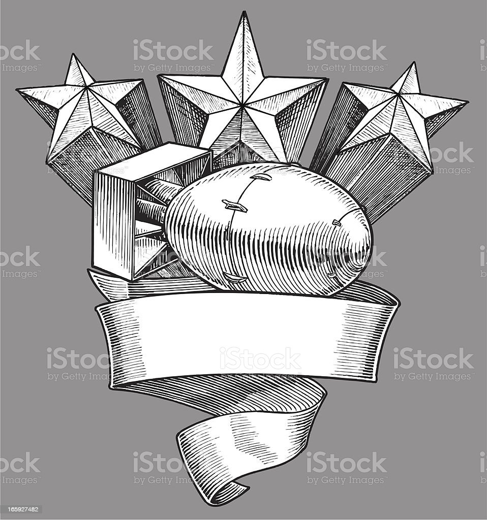 World War Two Atom Bomb - Banner with Stars royalty-free stock vector art