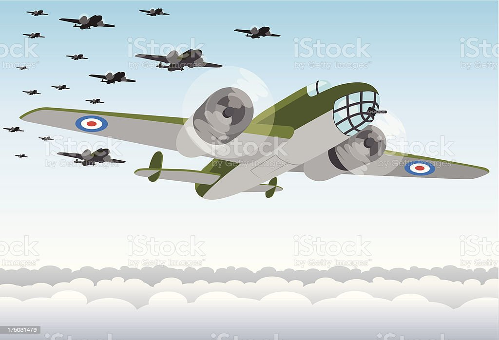 World War Two Bomber Squadron royalty-free stock vector art