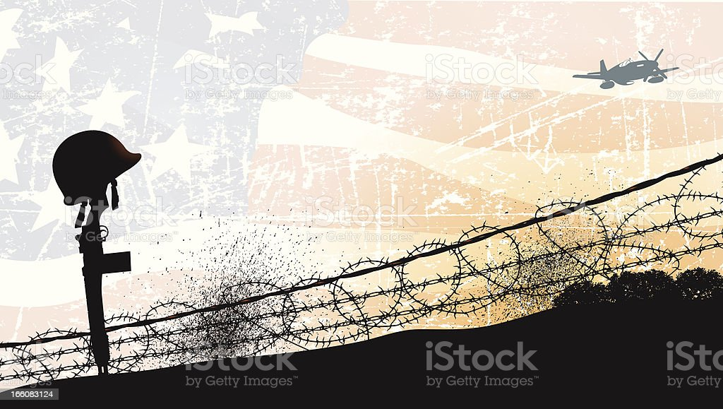 World War Two - Fallen Soldier and American Flag Background vector art illustration