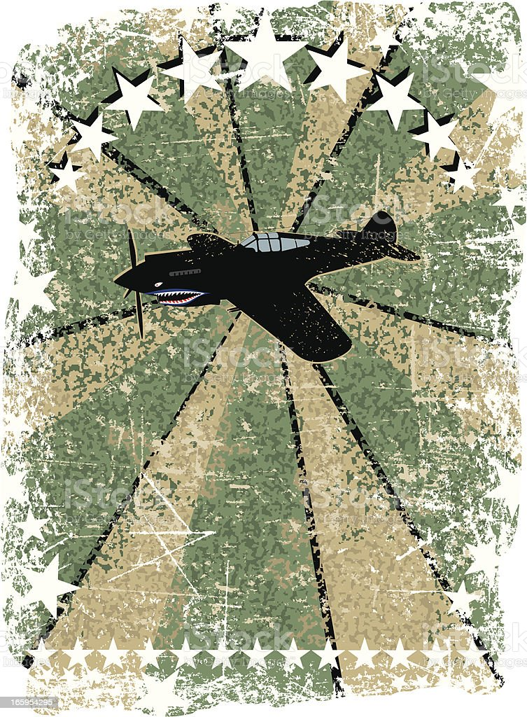 World War Two - US Fighter Plane Background royalty-free stock vector art