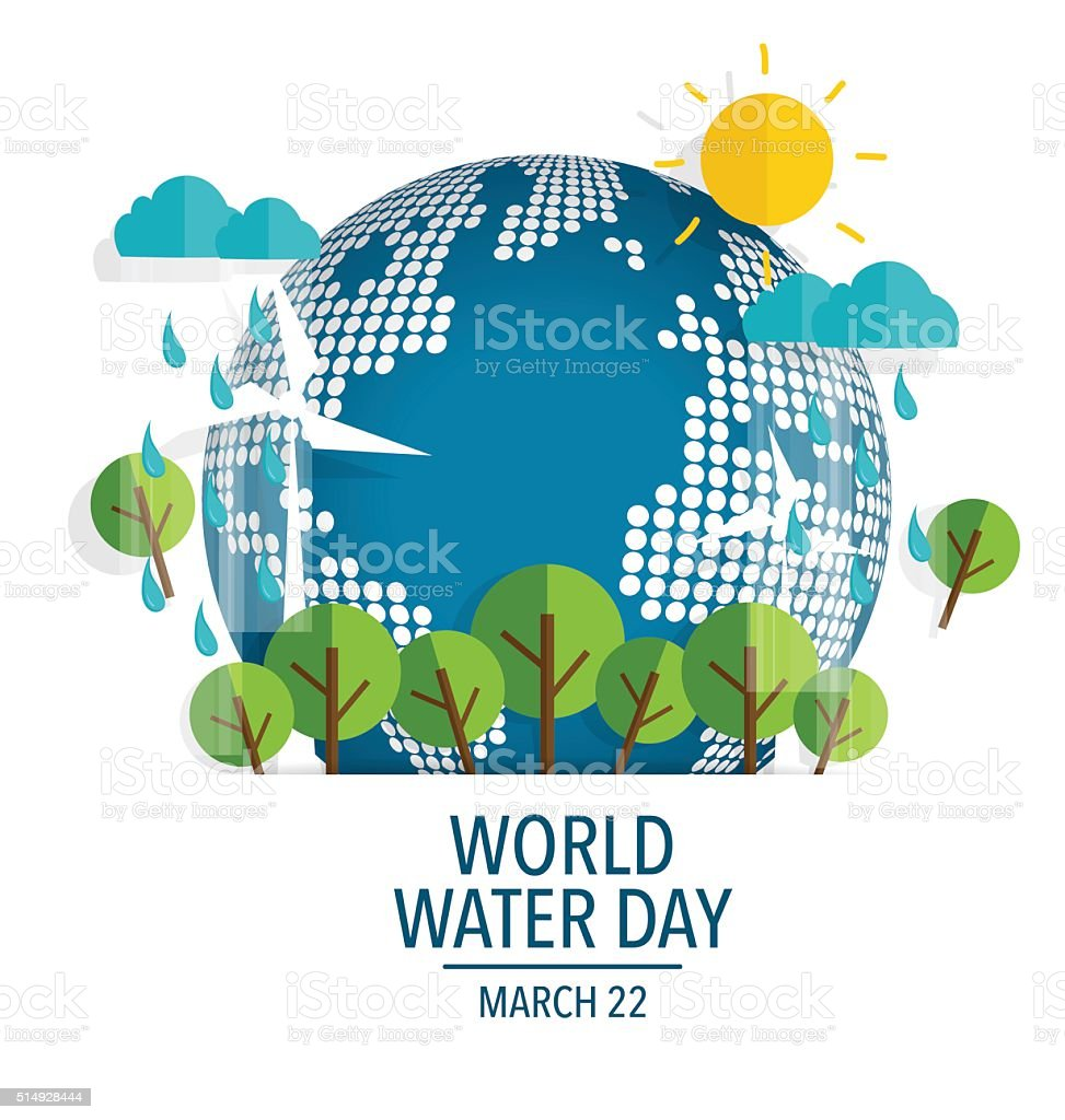 World water day concept with globe. Vector illustration. vector art illustration
