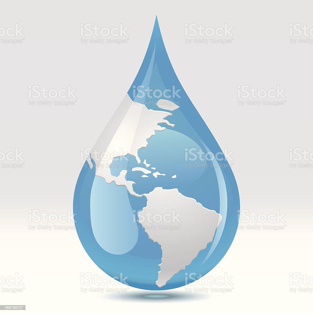 World Water Drop vector art illustration