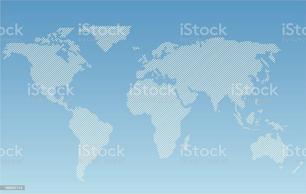 worldmap- striped vector art illustration