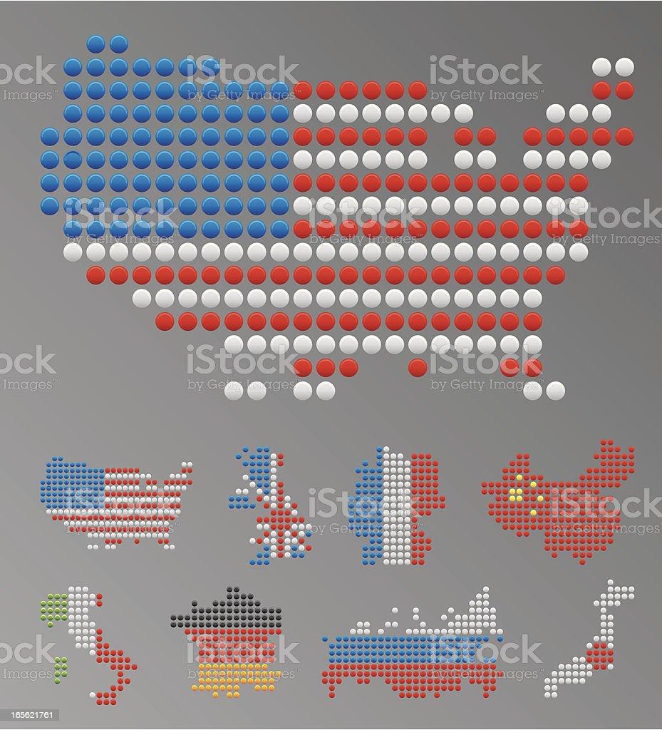 World's major nations maps royalty-free stock vector art