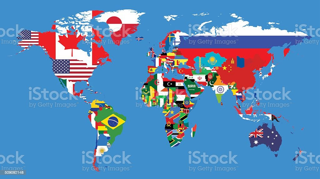Worlds political map vector art illustration