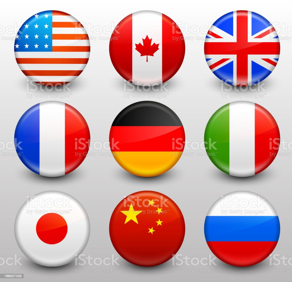 Worldwide Flag Button Pins Collection vector art illustration