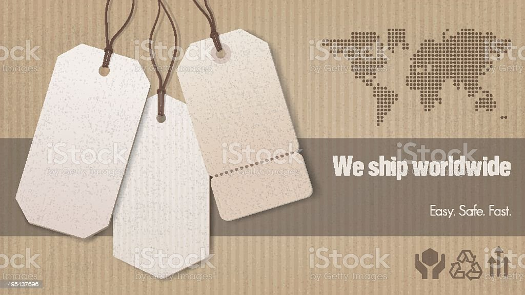 Worldwide shipping banner vector art illustration