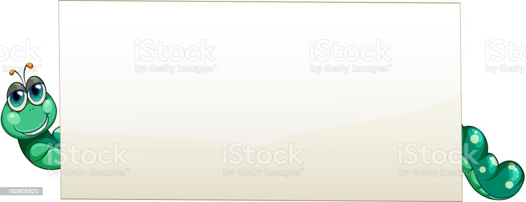 worm at the back of an empty banner royalty-free stock vector art