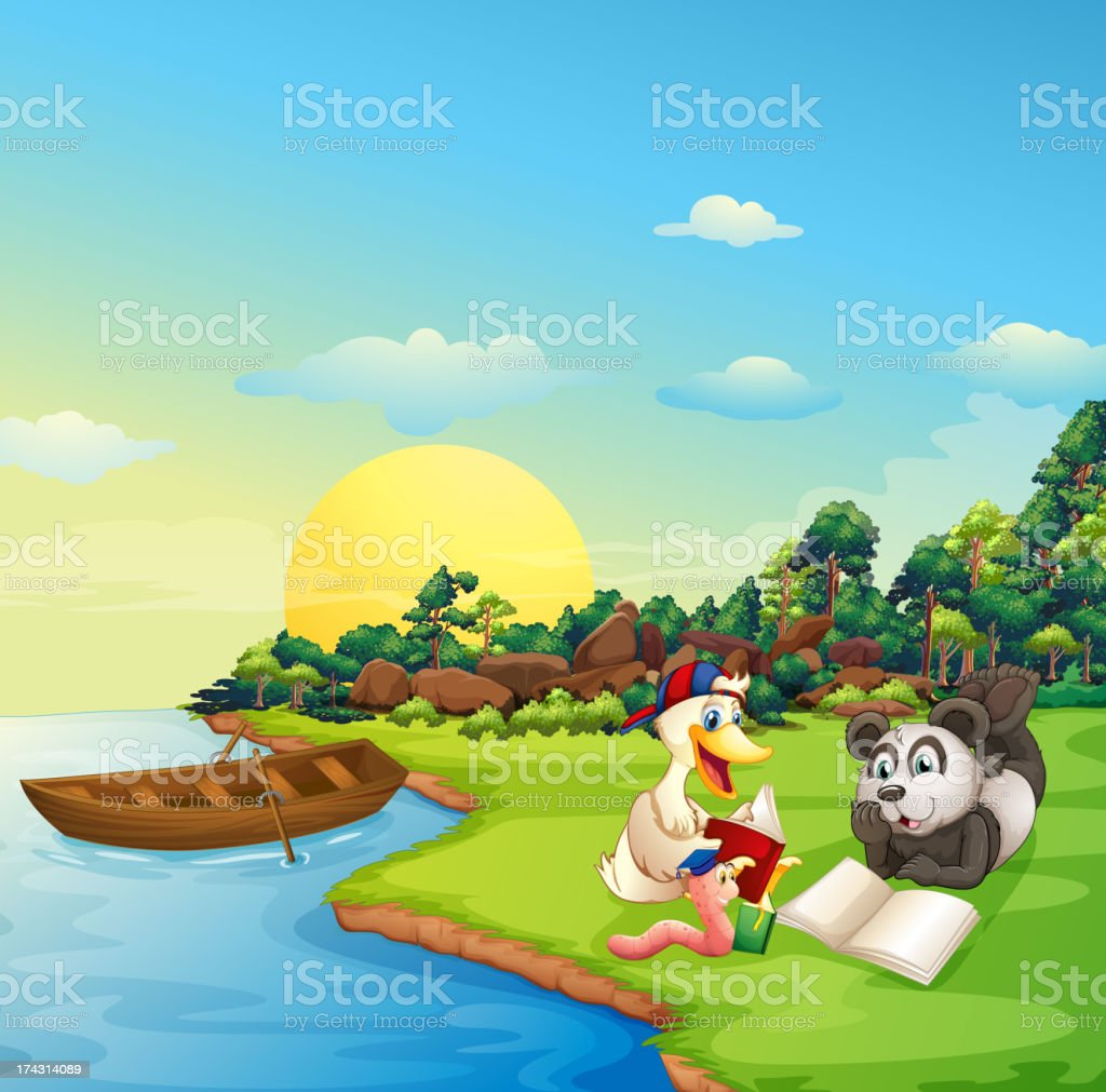 worm,  duck and a panda reading at the riverbank royalty-free stock vector art