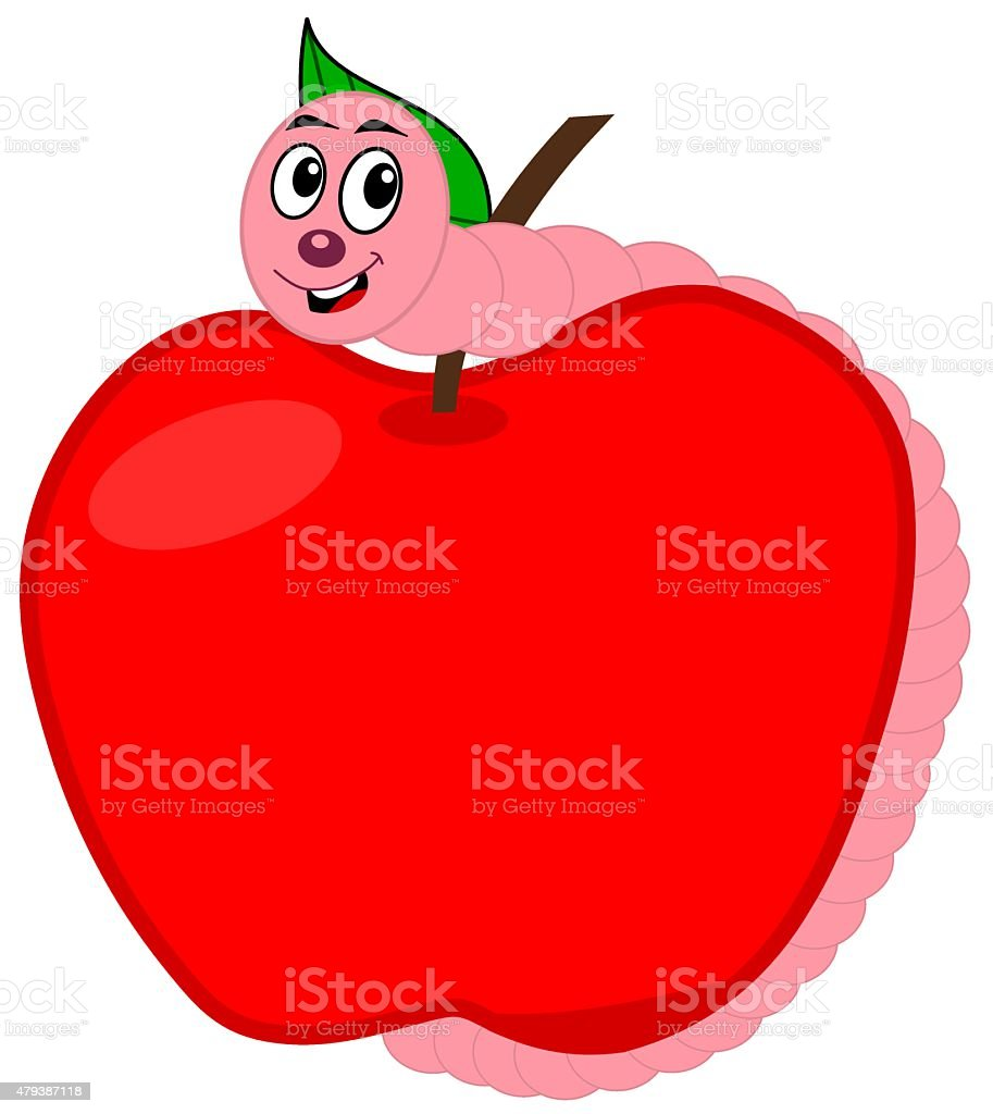 worm eating an apple vector art illustration