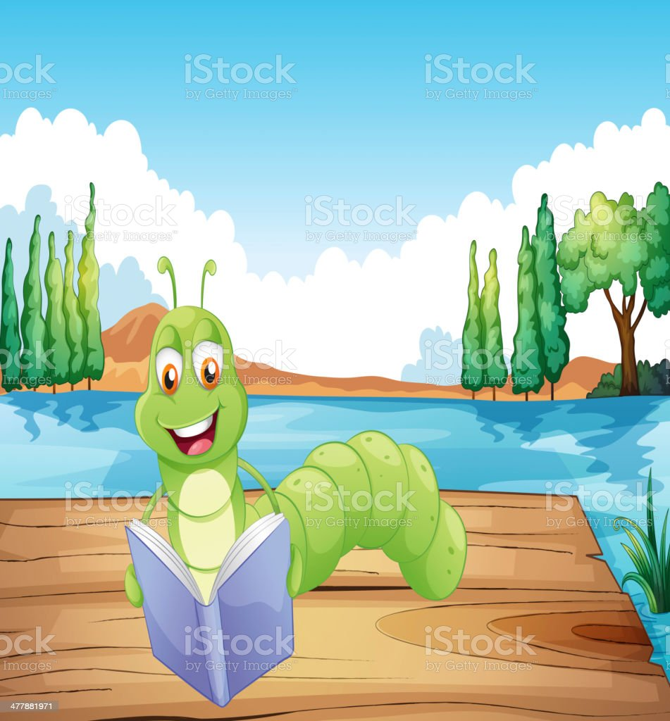 worm reading a book royalty-free stock vector art