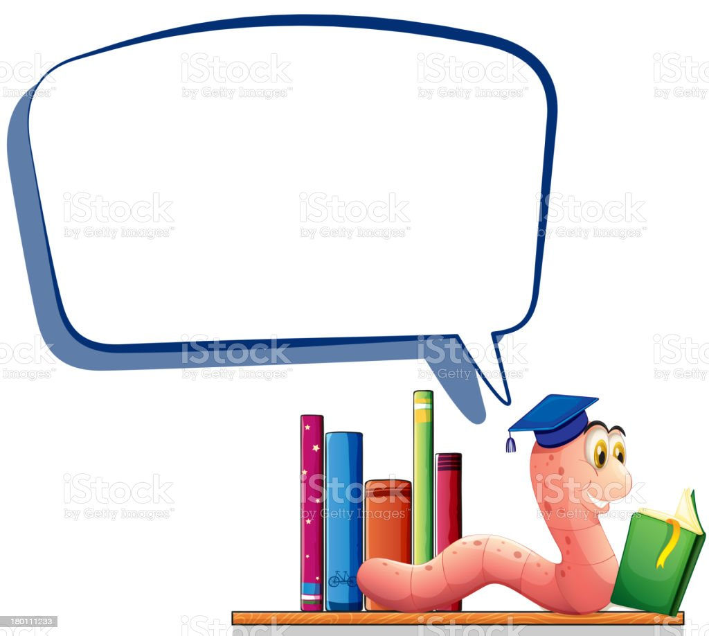 Worm reading book with an empty callout royalty-free stock vector art