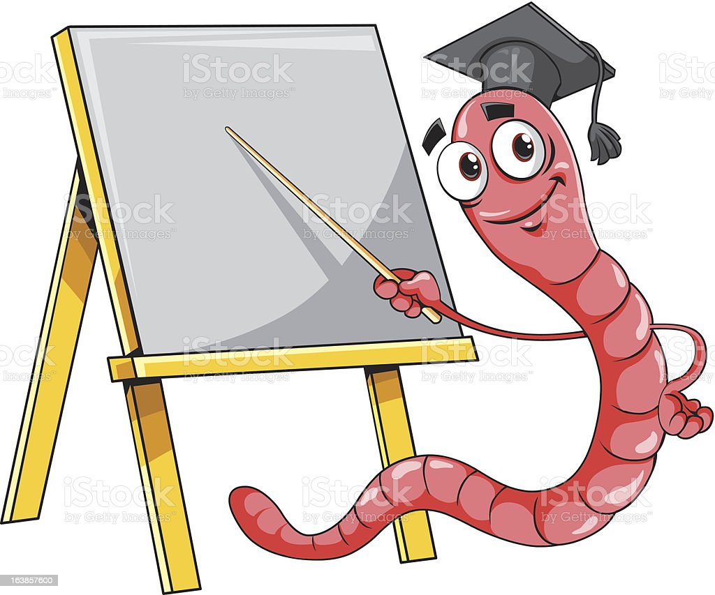 Worm with blackboard. royalty-free stock vector art
