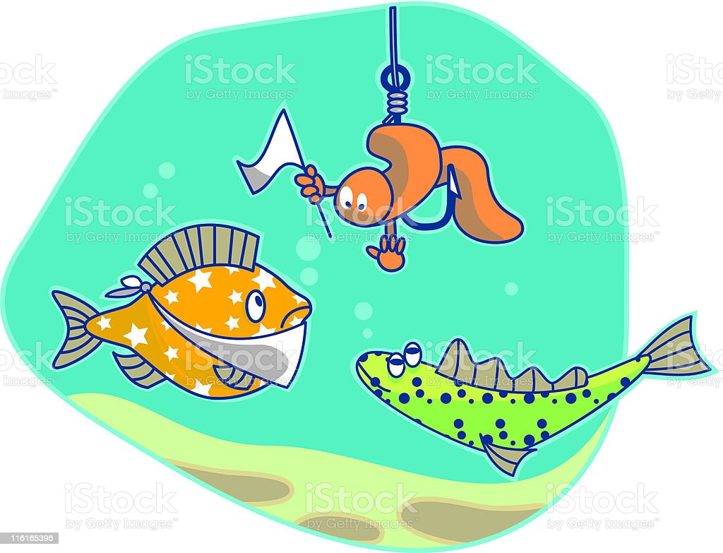 worms and fishs vector art illustration