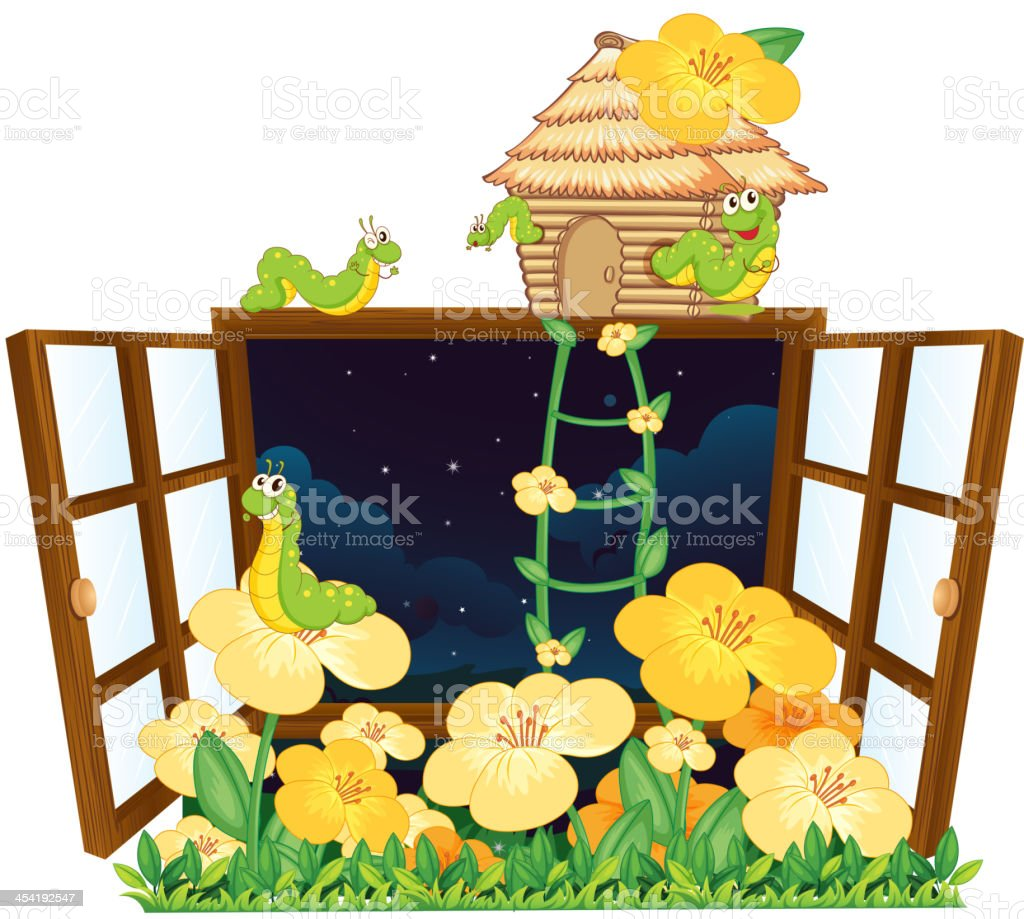 Worms, bird house and window royalty-free stock vector art