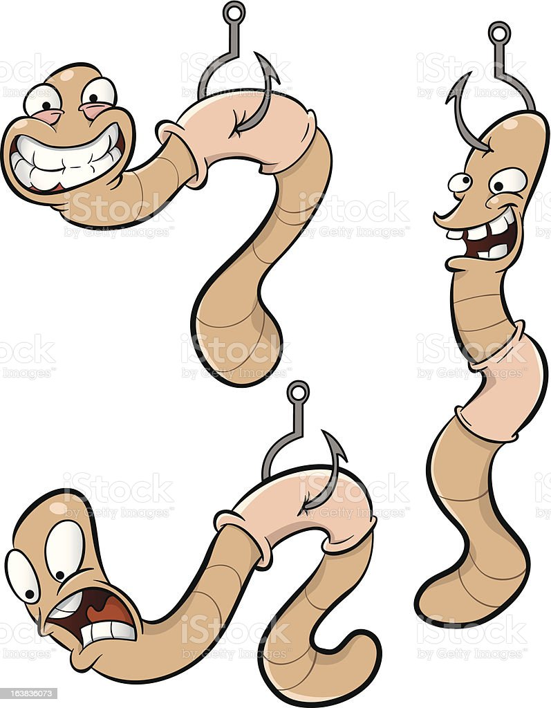 Worms on Hooks royalty-free stock vector art