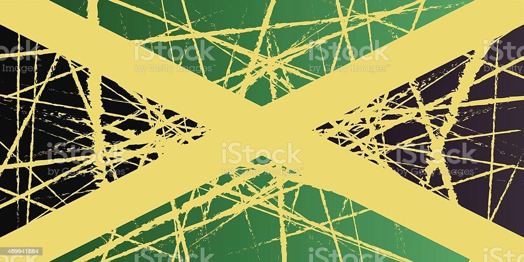 Worn Jamaica Flag vector art illustration