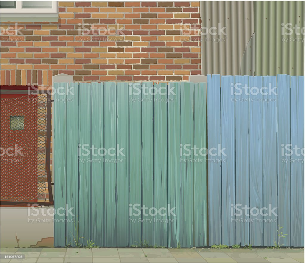 Worn out wooden fence wire mesh and brick wall background royalty-free stock vector art
