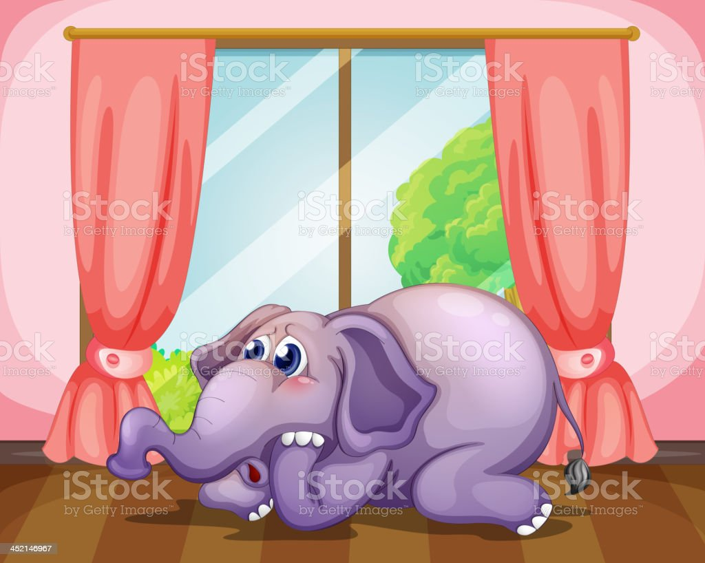 Worried face of an elephant inside the room royalty-free stock vector art