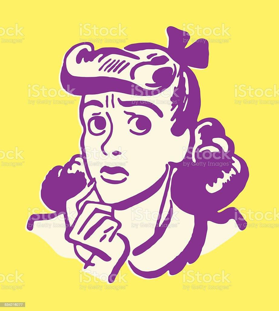 Worried Girl vector art illustration